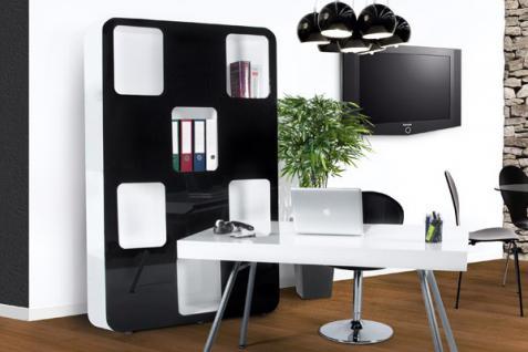 Designer Bücherregal aus lackiertem Holz Weiß/Schwarz Hochglanz Höhe: 207cm, Breite: 120cm, Tiefe: 30 cm, modernes Bücherregal