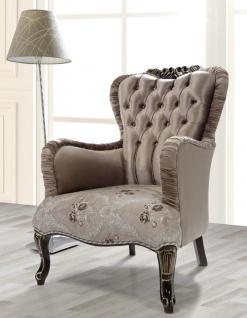 Casa Padrino Barock Sessel Braun / Beige / Schwarz / Gold 80 x 82 x H. 100 cm - Prunkvoller Wohnzimmer Sessel mit Blumenmuster - Barockstil Möbel