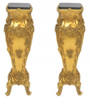 Casa Padrino Barock Marmor Säulen Set Gold / Schwarz - Marmor Säule (2 Stk)