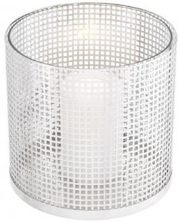 Casa Padrino Luxus Kerzenleuchter Silber Ø 25, 5 x H. 25 cm - Runder Kerzenleuchter aus Edelstahl und Glas - Luxus Deko Accessoires - Vorschau 3