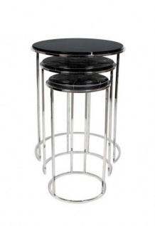 Casa Padrino Luxus Art Deco Designer Beistelltisch 3er Set mit Marmorplatte - Luxus Kollektion