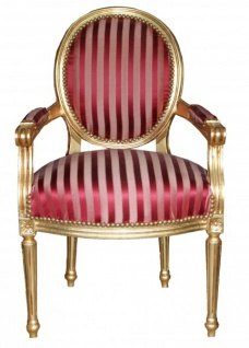 Casa Padrino Barock Salon Stuhl Bordeauxrot / Violett Streifen / Gold Mod2 Rund
