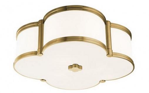 Casa Padrino Luxus Deckenleuchte Antik Messing / Weiß 42, 6 x 42, 6 x H. 14 cm - Deckenlampe in Kleeblatt Form - Luxus Qualität