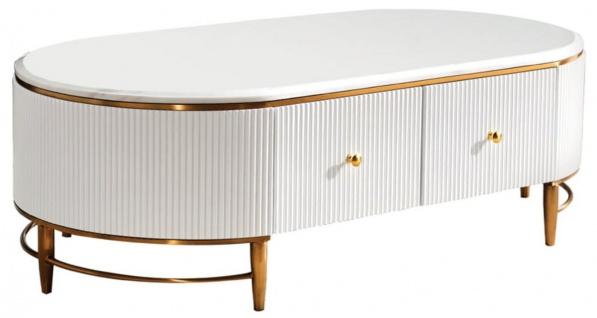 Casa Padrino Luxus Couchtisch Weiß / Messingfarben / Gold 130 x 70 x H. 42 cm - Moderner Wohnzimmertisch mit 4 Schubladen - Moderne Wohnzimmer Möbel