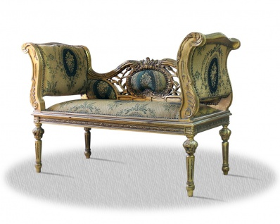 Casa Padrino Barock Sitzbank mit Muster 110 x 45 x H. 80 cm - Luxus Sitzbank
