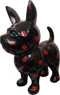 Casa Padrino Designer Dekofigur Chihuahua Hund Schwarz / Rot H. 91 cm - Wetterbeständige Deko Skulptur - Wohnzimmer Deko - Garten Deko - Designer Deko Tierfigur