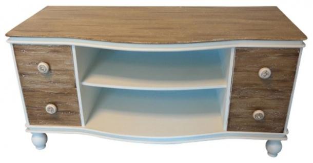 Casa Padrino Landhausstil Fernsehschrank Weiß / Braun 90 x 40 x H. 45 cm - Handgefertigter Wohnzimmer TV Schrank im Landhausstil