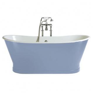Casa Padrino Luxus Gusseisen Badewanne Hellblau / Weiß 170 x 68 x H. 69.5 cm - Gebogene freistehende Badewanne - Barock & Jugendstil Badezimmer Möbel