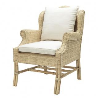 Casa Padrino Designer Rattan Sessel Naturfarbig 70 x 80, 5 x H. 98, 5 cm - Luxus Wohnzimmer Möbel