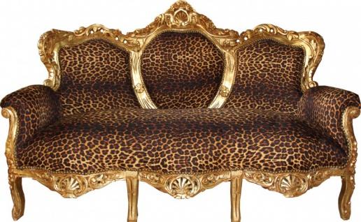 "Casa Padrino Barock 3er Sofa "" King"" Leopard/Gold - Antik Möbel"