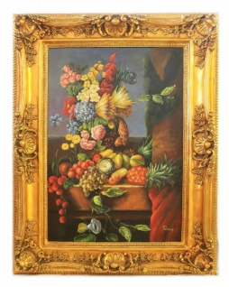 Handgemaltes Barock Öl Gemälde Obst 3 Gold Prunk Rahmen 130 x 100 x 10 cm - Massives Material