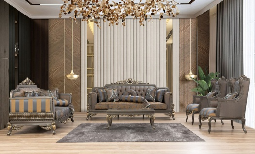 Casa Padrino Luxus Barock Wohnzimmer Set Blau / Grau / Gold - 2 Sofas & 2 Sessel & 1 Couchtisch - Prunkvolle Barock Wohnzimmer Möbel