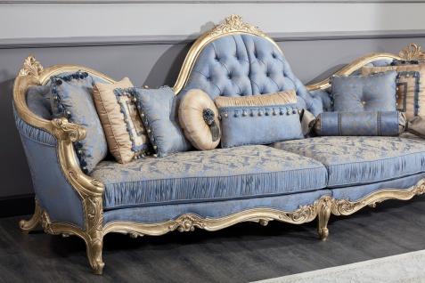 Casa Padrino Luxus Barock Chesterfield Sofa Hellblau / Antik Gold 300 x 90 x H. 119 cm - Prunkvolles Barock Wohnzimmer Sofa - Barockmöbel - Vorschau 3