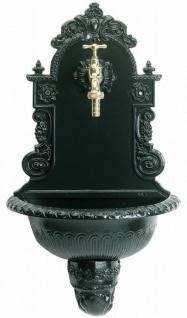 Casa Padrino Jugendstil Aluminium Wandbrunnen mit Wasserhahn Grün 30 x 34 x H. 85 cm - Barock & Jugendstil Gartendeko