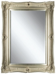 Casa Padrino Barock Spiegel Silber 91 x H. 120 cm - Prunkvoller Wandspiegel mit Holzrahmen und wunderschönen Verzierungen