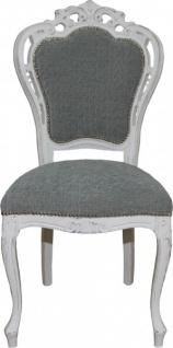 Casa Padrino Barock Esszimmer Stuhl ohne Armlehnen Grau / Antik Weiß - Designer Stuhl - Luxus Qualität