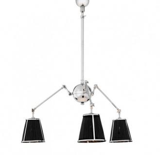 Casa Padrino Luxus Decken Kronleuchter Messing vernickelt / Schwarz - Massive Ausführung - Möbel Lüster Leuchter Hängeleuchte Hängelampe