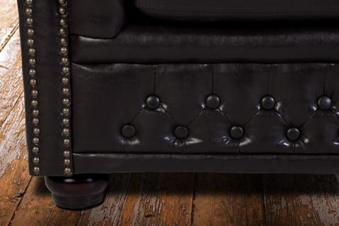 Casa Padrino Chesterfield 2er Sofa Dunkelbraun - Wohnzimmer Couch Möbel Braun - Vorschau 3