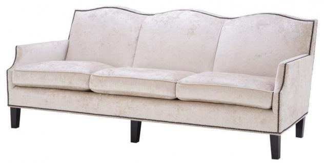 Casa Padrino Luxus Wohnzimmer Sofa Creme / Schwarz 220 x 98 x H. 90 cm - Limited Edition