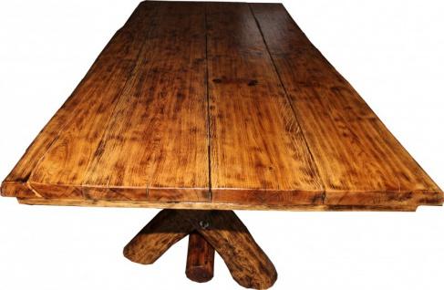 Rustikaler Eichen Esstisch 200 x 115 cm - Massiv und Schwer von Casa Padrino - Gasthaus Tisch Speisetisch Ritter Tisch - Restaurant Möbel - Vorschau 5