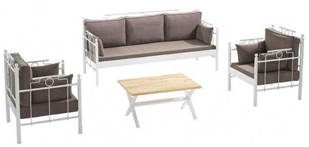 Casa Padrino Jugendstil Gartenmöbel Set Grau / Weiß - 1 Sofa & 2 Sessel & 1 Tisch - Garten & Terrassen Möbel im Jugendstil