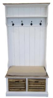 Casa Padrino Landhausstil Garderobe Antik Weiß / Naturfarben 92 x 40 x H. 189 cm - Handgefertigte Garderobe mit Sitzbank und Körben - Vorschau 3