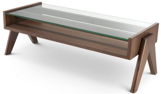 Casa Padrino Luxus Couchtisch Braun 120 x 46 x H. 39, 5 cm - Rechteckiger Massivholz Wohnzimmertisch mit Glasplatte - Luxus Wohnzimmer Möbel
