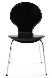 Designer Stuhl aus hochwertigem Kunstleder und verchromtem Stahl Schwarz, Esszimmerstuhl, moderner Wohnzimmerstuhl