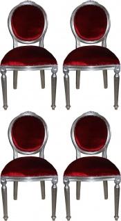 Casa Padrino Luxus Barock Esszimmer Set Medaillon Bordeauxrot / Silber 50 x 52 x H. 99 cm - 4 handgefertigte Esszimmerstühle - Barock Esszimmermöbel