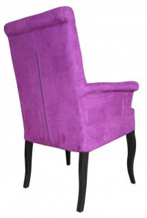 Casa Padrino Luxus Esszimmer Stuhl Lila / Schwarz mit Armlehnen - Barock Möbel - Vorschau 2