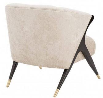 Casa Padrino Designer Sessel Cremefarben / Schwarz / Messingfarben 71, 5 x 79, 5 x H. 77 cm - Luxus Möbel - Vorschau 4