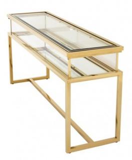 Casa Padrino Luxus Glas Vitrine Edelstahl Gold B 160 x T 45 x H 77 cm Konsole Ladeneinrichtung - Art Deco Möbel - Vorschau 3