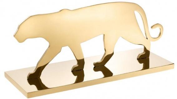 Casa Padrino Luxus Edelstahl Dekofigur Panther Silhouette Messingfarben 36 x 12, 5 x H. 15 cm - Luxus Dekoration