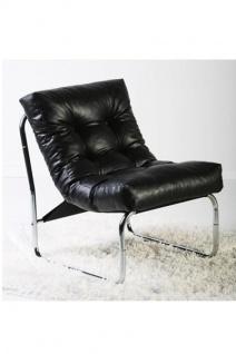 Designer Salon Stuhl Schwarz Lederoptik, sehr komfortabler Sitz, moderner Wohnzimmerstuhl - Vorschau 3