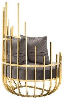 Casa Padrino Designer Sessel rechtsseitig mit 2 Kissen Grau / Gold 91, 5 x 75 x H. 136, 5 cm - Designer Wohnzimmer Möbel - Luxus Qualität - Vorschau 4