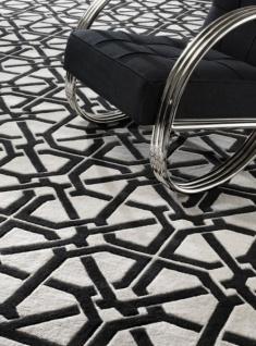 Wunderschöner Luxus Teppich von Casa Padrino aus 100% Neuseeland-Wolle, Schwarz/Weiss, Samtweich - Hochwertige Qualität