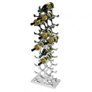 Designer Weinregal für 27 Flaschen aus poliertem Aluminium Höhe 103cm - Wein Ständer, Flaschen Ständer, Flaschen Regal