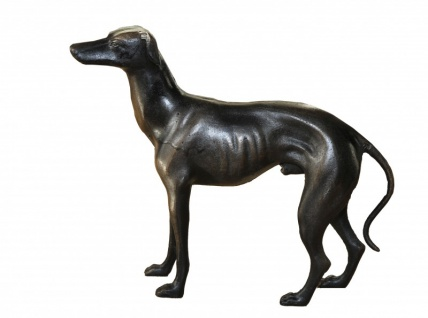 Casa Padrino Luxus Figur Windhund Rüde H 29 cm, B 33 cm, T 8 cm - Massive Skulptur - Edel & Prunkvoll