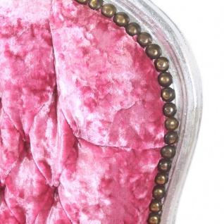 Casa Padrino Barock Salon Stuhl Pink Velour Stoff / Silber - Antik Design Möbel - Vorschau 2