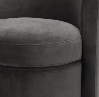 Casa Padrino Designer Sessel Dunkelgrau 61 x 57 x H. 64 cm - Runder Samt Sessel - Luxus Möbel - Vorschau 5