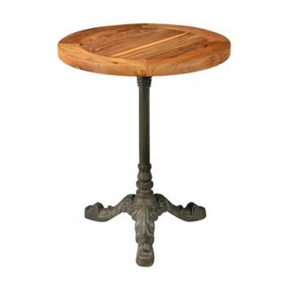 Casa Padrino Jugendstil Luxus Tisch / Beistelltisch Teak Holz / Eisen Rund 61 x 61 x H71 cm - Cafe Restaurant Möbel