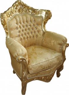 Casa Padrino Barock Sessel King Mod 2 Gold Muster / Gold mit Glitzersteinen 85 x 60 x H. 116 cm
