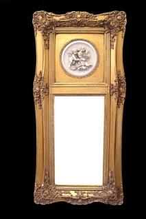 Casa Padrino Barock Wandspiegel Gold mit Engelsmotiven B 43 x H 90 cm - Edel & Prunkvoll