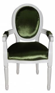 Casa Padrino Barock Esszimmer Stuhl mit Armlehne Grün / Weiß - Designer Stuhl - Luxus Qualität