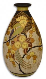 Casa Padrino Art Deco Porzellan Blumenvase Mehrfarbig Ø 17, 8 x H. 32 cm - Deko Vase