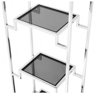 Casa Padrino Wohnzimmer Regalschrank Silber / Schwarz 45, 5 x 25, 5 x H. 221 cm - Luxus Wohnzimmerschrank - Vorschau 3