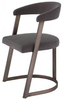 Casa Padrino Designer Stuhl mit Armlehnen Grau-Braun / Bronzefarben 52 x 49 x H. 78 cm - Esszimmerstuhl - Bürostuhl - Luxus Designer Möbel