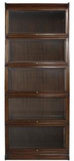 Casa Padrino Luxus Mahagoni Bücherschrank mit 5 Glastüren und LED Beleuchtung Dunkelbraun 90 x 39 x H. 223 cm - Luxus Büromöbel - Vorschau 3