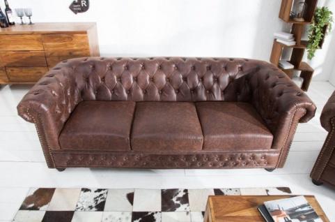 Casa Padrino Chesterfield Sofa Vintage Braun 200 x 85 x H. 70 cm - Kunstleder 3er Couch - Chesterfield Wohnzimmer Möbel - Vorschau 2