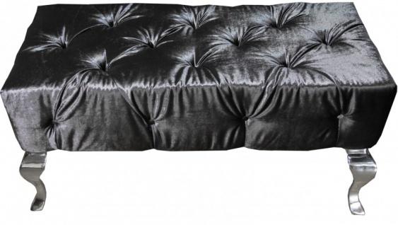 Casa Padrino Luxus Barock Sitzhocker Grau / Silber - Designer Sitzbank - Hocker - Luxus Qualität - Vorschau 2